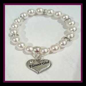 flowergirl white pearl bracelet