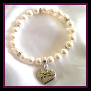 maid of honour white pearl bracelet