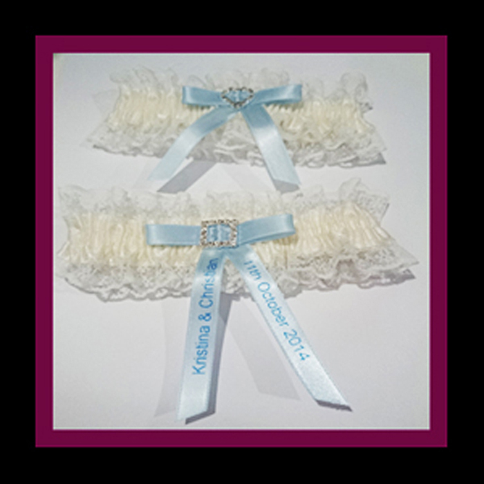Personalised Ivory Lace Blue Ribbon Garter