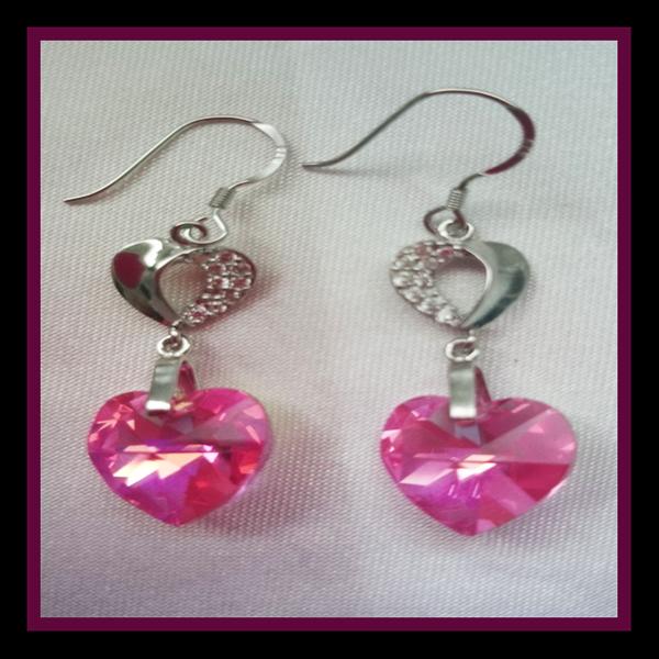 Sterling Silver Swarovski Hearts earrings