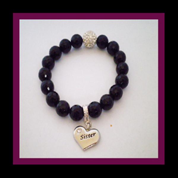 black agate bracelet sister charm