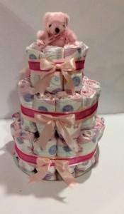 3 Tier round nappy cake pink 2